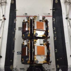 Satelity při uzavření do aerodynamického krytu